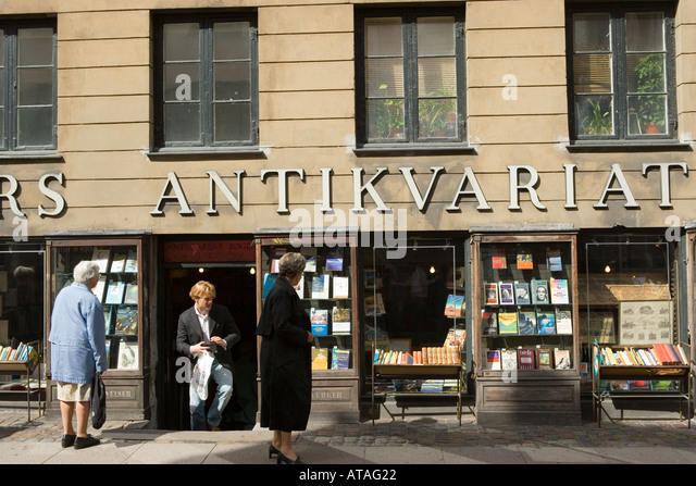 Copenhagen Denmark Antiquarian bookshop - Stock-Bilder