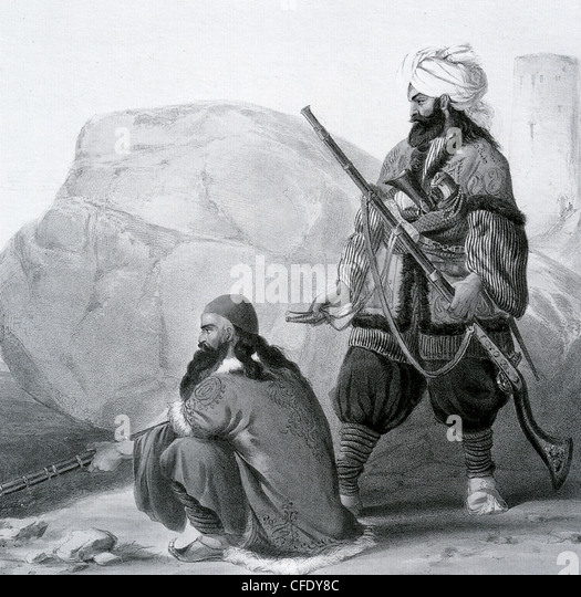 AFGHANISTAN  19th century Afghans armed with  long barrelled jezails which out ranged early European muskets - Stock-Bilder