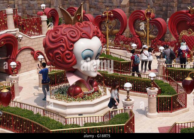 Shanghai. 11th May, 2016. Photo taken on May 11, 2016 shows the Alice in Wonderland Maze of the Disney Resort in - Stock Image