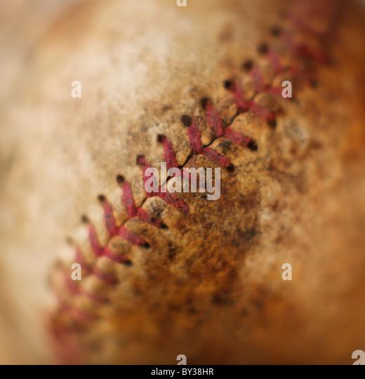 Seam on antique baseball - Stock Image