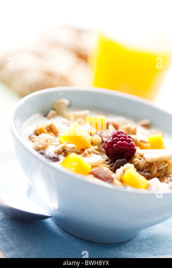 yogurt with cereal and fruit - Stock Image