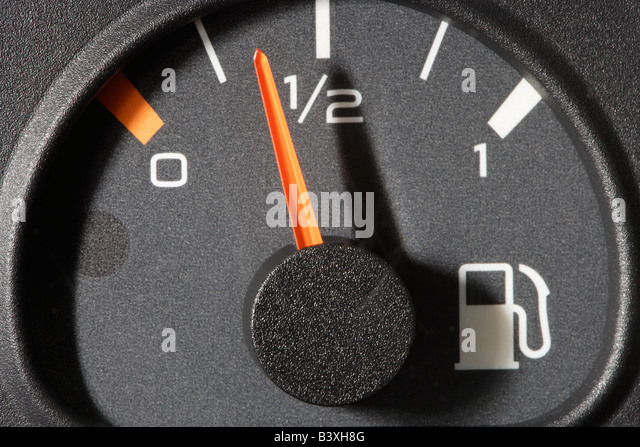 Car fuel gauge half full - Stock Image