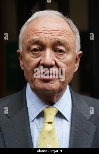 London, England, UK. 4th Apr, 2017. Ken Livingstone interview by press at the front of the Church House a Labour - Stock-Bilder