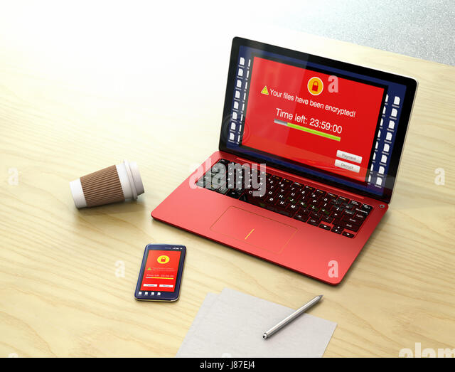 Screen of desktop PC and smartphone showing alert that the devices were attacked by ransomware. 3D rendering image. - Stock Image