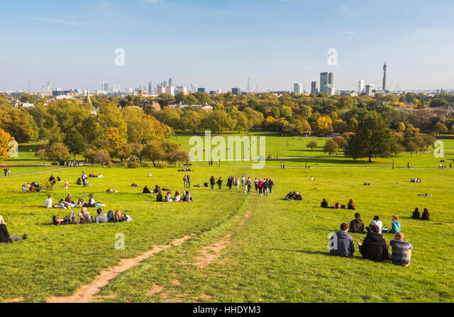 London City Skyline in autumn seen from Primrose Hill, Chalk Farm, Borough of Camden, London, UK - Stock Image