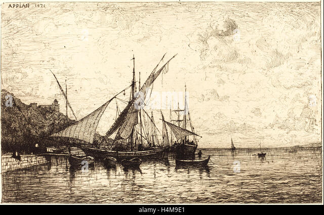 Adolphe Appian, French (1818-1898), The Port of Monaco, 1873, etching and drypoint on heavy laid paper - Stock-Bilder