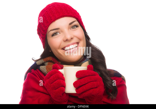 Happy Mixed Race Woman Wearing Winter Hat and Gloves Holds a Mug Isolated on White Background. - Stock Image