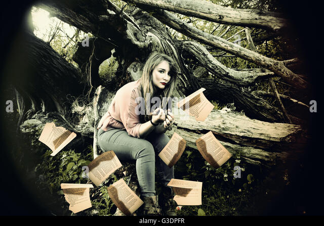 words, fairy-tale, fairy, pretty, life, fantasy, location, woods, alice in wonderland, beauty, story, chapter, pages, - Stock Image