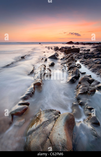 Sandymouth beach at Dusk, Cornwall. - Stock Image
