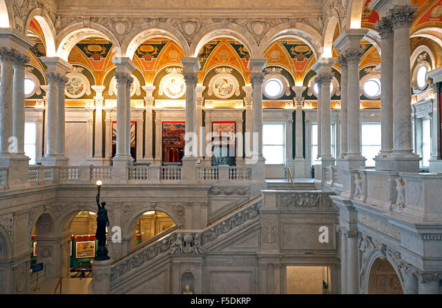 Interior, Library of Congress, Washington, District of Columbia USA - Stock Image