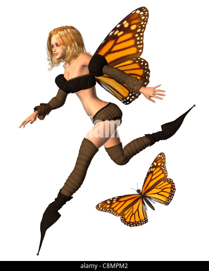 Monarch Butterfly Fairy - 3 - Stock Image