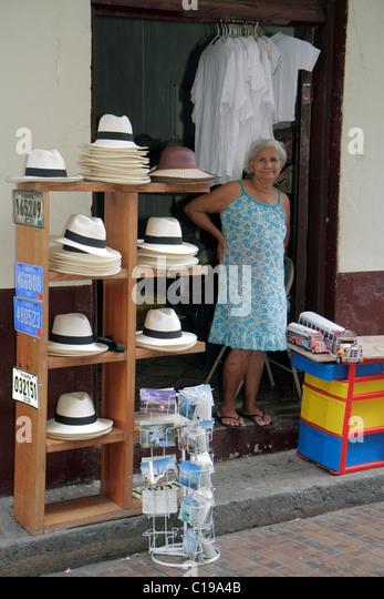 Panama Panama City Casco Viejo San Felipe souvenirs sidewalk display store business merchant Hispanic woman Panama - Stock Image