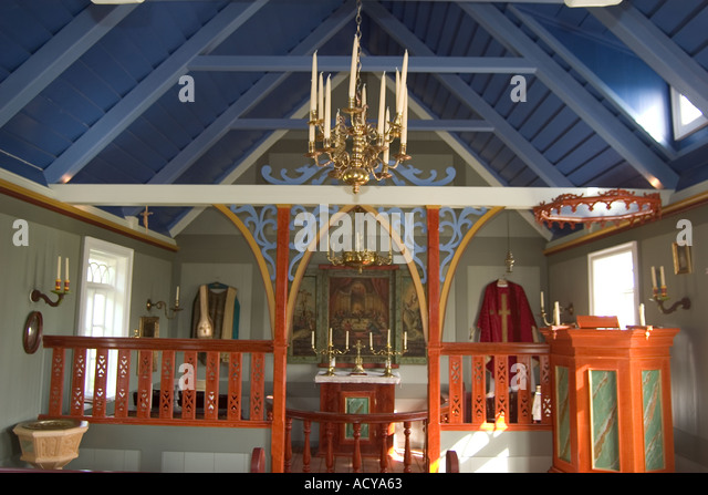 Iceland Skogar open air museum typical village church inside - Stock Image