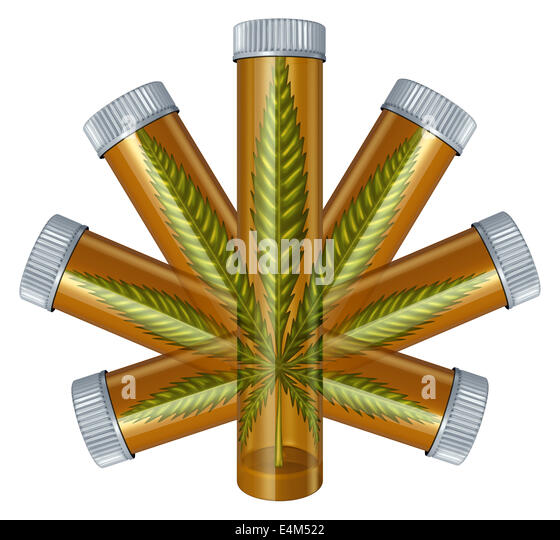 Medical Marijuana concept as a prescription medicine bottle in the shape of a cannabis leaf as a medical alternative - Stock Image