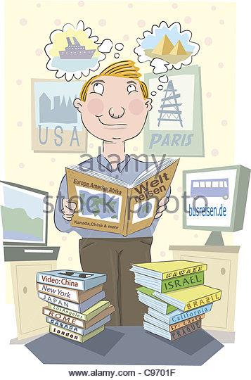 vacation planning Man - Stock-Bilder