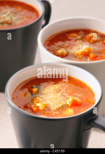 Cups of minestrone, close-up - Stock Image