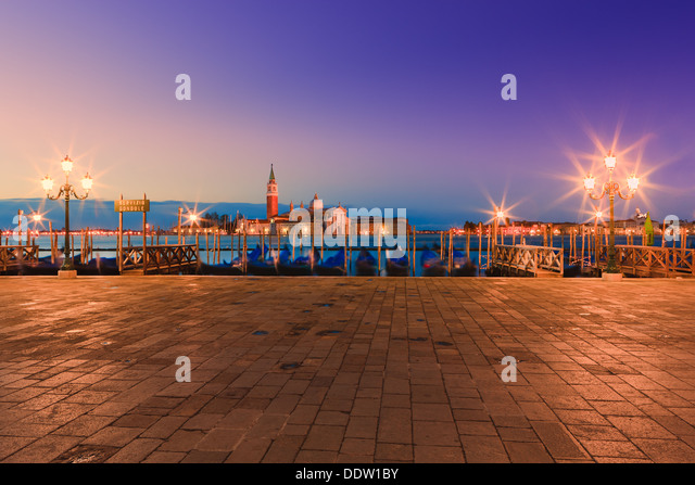 Sunrise in Venice with the view from San Marco square - Stock Image