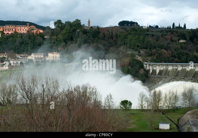 Corbara Dam Overflow. Corbara, Terni Province, Umbria, Italy - Stock Image