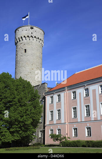 The historic castle tower and a part of the parliament building are pictured in Tallinn, Estonia, June 2009. The - Stock Image