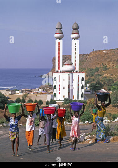 Africa, Senegal, Dakar, Ouakam, person, mosque, town, capital, mosque, building, structure, coast, sea, part of - Stock Image
