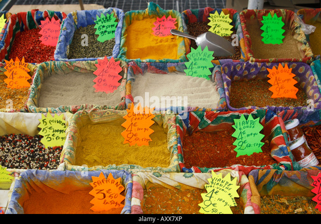 France Nice Cours de Saleya market stall spices - Stock Image