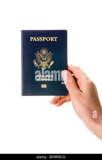 hand holding passport - Stock Image
