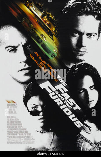 THE FAST AND THE FURIOUS, US poster art, clockwise from top right: Paul Walker, Jordana Brewster, Michelle Rodriguez, - Stock Image
