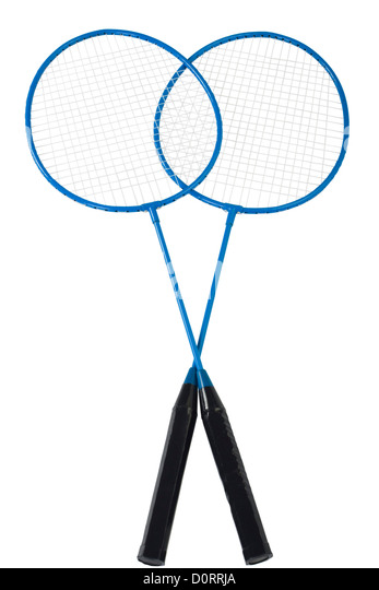 Close-up of two badminton rackets - Stock Image