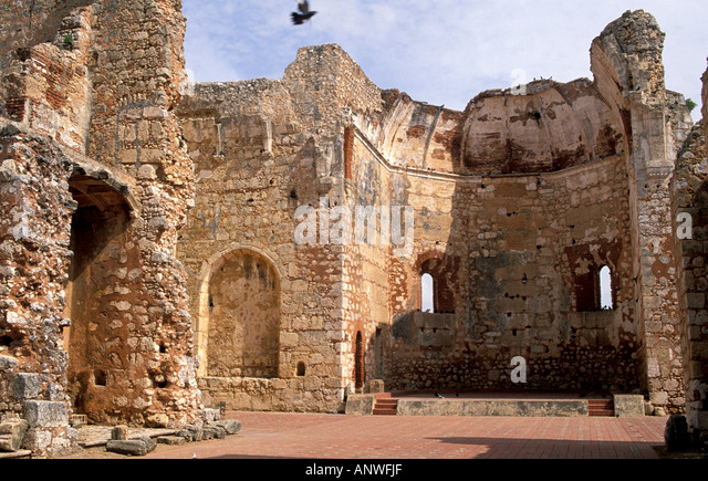 Dominican Republic Santo Domingo Zona Colonial monastery ruins San Francisco - Stock Image