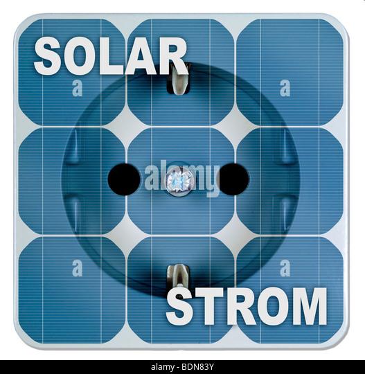 Solar energy, solar power panels with outlet - Stock-Bilder