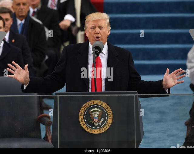 President Donald Trump delivers his inaugural address at the inauguration on January 20, 2017 in Washington, DC - Stock-Bilder