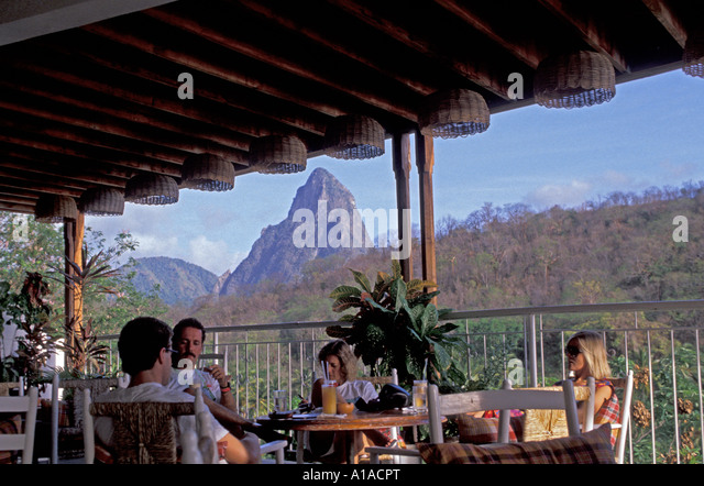 St Lucia  Anse Chastanet resort restaurant view of petit piton - Stock Image