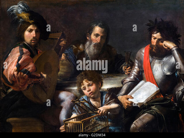 The Four Ages of Man by Valentin de Boulogne, oil on canvas, c.1629. The painting depicts four stages of life life: - Stock Image