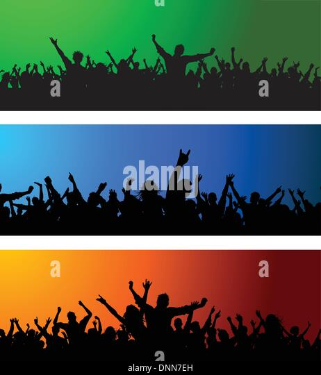 Collection of three different crowd scenes on colourful backgrounds - Stock-Bilder