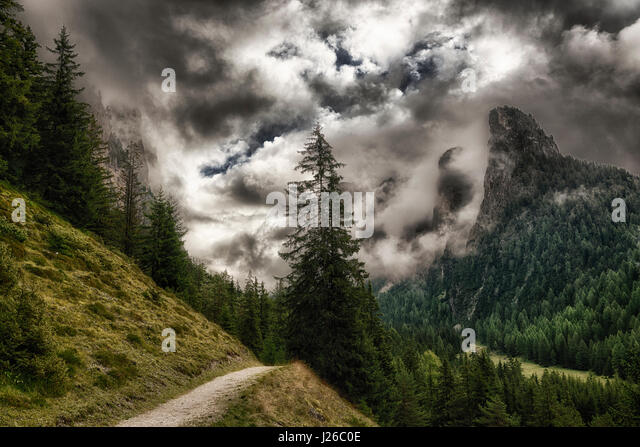 path through the forest with the top of the mountains wrapped in threatening clouds, Vallunga near the little city - Stock Image