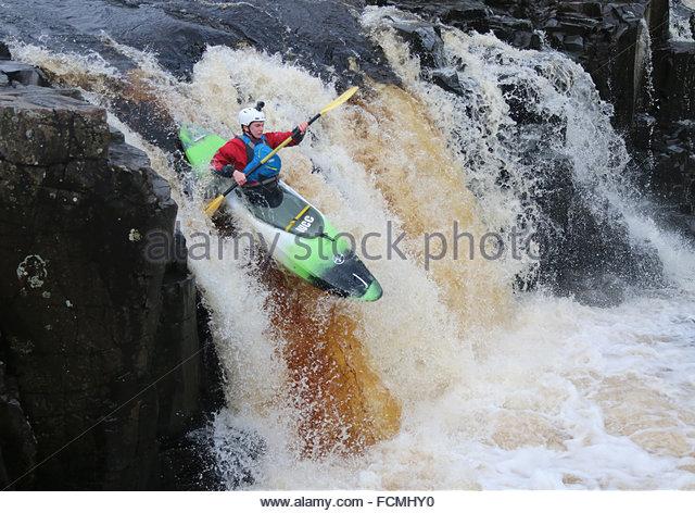 Low Force Waterfall, River Tees near Bowlees, Middleton-in-Teesdale, Co Durham UK 23rd January 2016 Warmer weather - Stock-Bilder