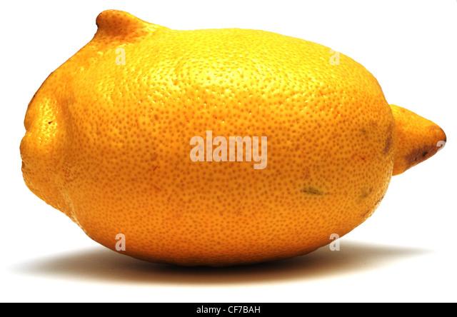 fresh yellow lemon unusual shape on white background - Stock Image