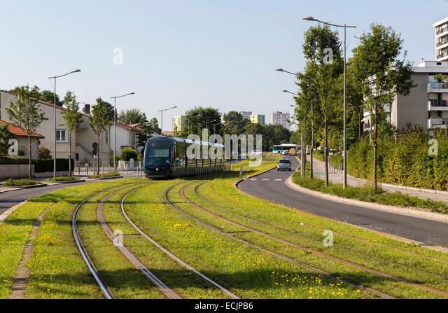 France, Gironde, Merignac, Tram arriving in the city center of Merignac - Stock Image