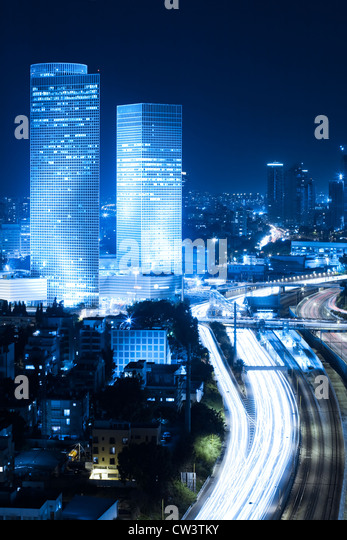 Tel Aviv at night - Ayalon freeway - Stock Image