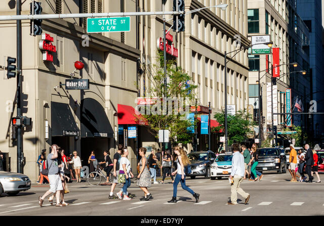 Illinois Chicago River North downtown South State Street East Grand Avenue traffic pedestrians buildings urban - Stock Image
