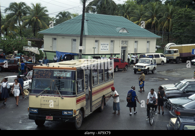 Jamaica Port Antonio Harbour Street public bus covered market residents - Stock Image