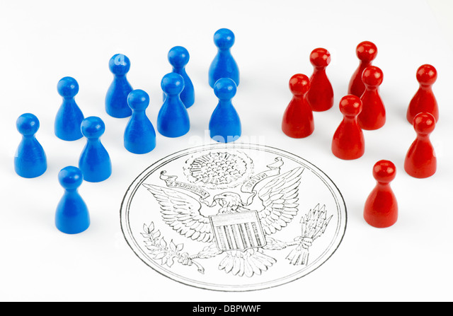 Game figures with Great Seal symbolizing the major political parties  in the United States. - Stock Image
