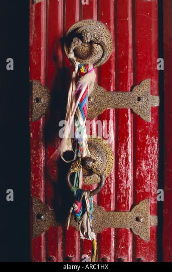 Detail of main door, Potala palace, Lhasa, Tibet, China, Asia - Stock Image