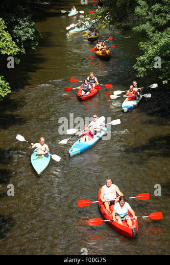 canoeing on the river Lesse in the Ardennes, Belgium, Ardennes - Stock Image