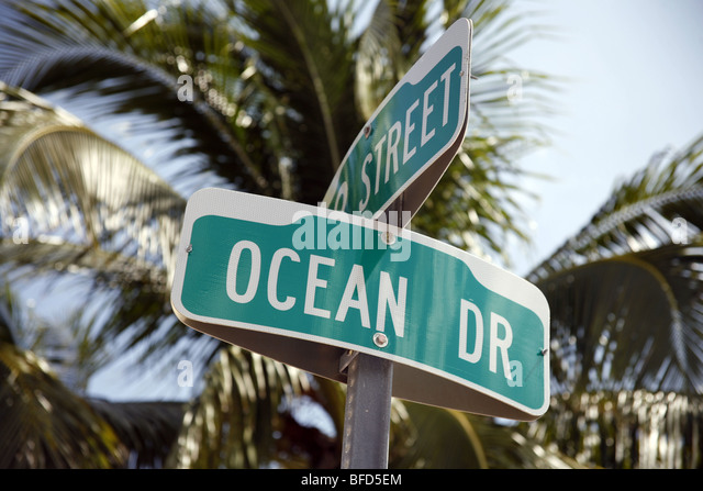Ocean Drive street sign on Miami Beach, USA - Stock Image