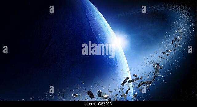 Space junk orbiting around earth - Conceptual of pollution around our planet (Texture map for 3d furnished by NASA - Stock Image