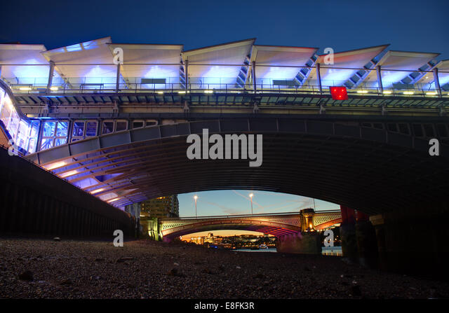 London, UK Blackfriars Bridges - Stock Image