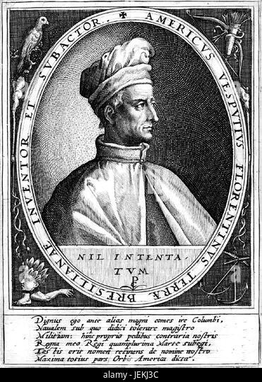 AMERIGO VESPUCCI (1454-1512) Italian explorer. The   wording refers to him as the 'discoverer and conqueror - Stock-Bilder