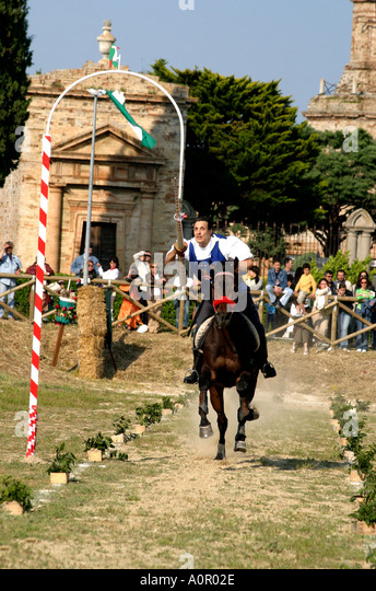 winner of the Jousting competition at traditional annual medieval festival at Monte Rubbiano in Le Marche the Marches - Stock Image