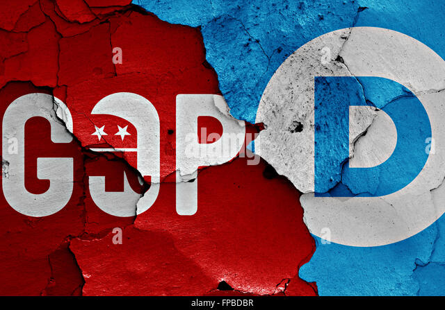flag of gop and democrats painted on cracked wall - Stock Image